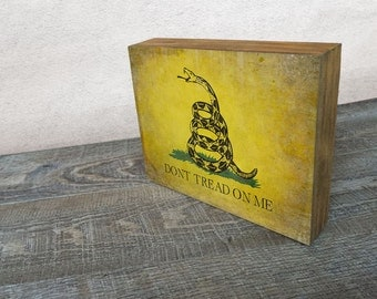 "Vintage Gadsden ""Dont Tread on Me"" flag Art Mounted Print -  Wood Block Wall Decor"