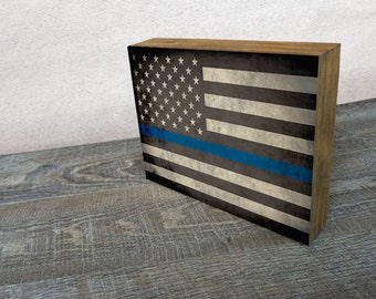 Thin Blue Line Flag Art Mounted Print -  Wood Block Wall Decor