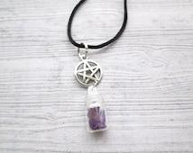 Amethyst Spell charm pendant, pagan pendant, pagan jewellery, pagan jewelry, Wiccan jewelry, Wiccan jewellery, Wicca necklace, Spell necklac