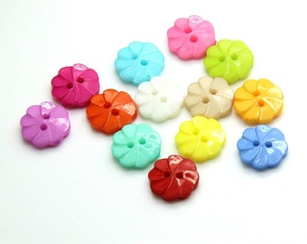 40 pcs 0.51 inch Colorful Plum Flower 2 Hole Resin Shell Buttons for Kids Shirts Sweaters