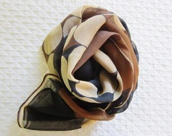 VERA chiffon scarf, long chiffon scarf, 1970s  fashion, 70s verasheer scarf, Vera Nuemann ,polka dots,  hair wrap, mod scarves semi sheer