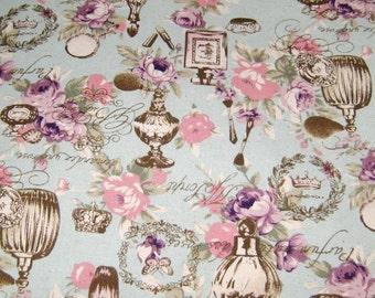 Blue Perfume Bottle Fabric, Japanese Cotton Fabric, Fabric By The Yard, Vintage Style Cotton Fabric, Floral Cotton Fabric,Butterflies Fabric