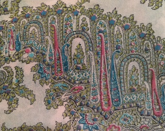 Liberty of London Blue Pink Silk Scarf Vintage 1950s