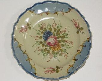 Decorative Majolica Floral Plate Handpainted in Italy Cream and Blue Scalloped Crimped Edge Rose Blush Golden Flowers and Green Leaf Sprigs
