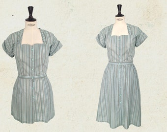 1940s playsuit romper + skirt, stripped, mint, vintage inspired.