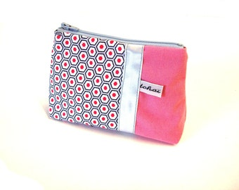 coin case pink geometric fabric-zippered purse grafic canvas-coin pouch