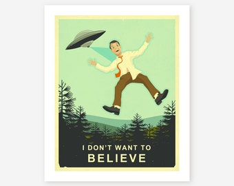 Giclée Fine Art Print, Retro, Sci-Fi, Pop Art Poster, 'I Don't Want to Believe' by Jazzberry Blue