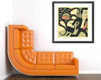 DONT LOOK BACK, Giclée Fine Art Print, Retro Pop-Surrealism by Jazzberry blue