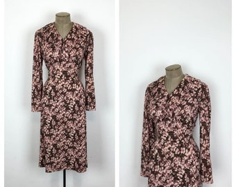 Vintage Floral Jersey Day Dress • 70s Long Sleeve Cotton Dress • Pink and Brown • Large