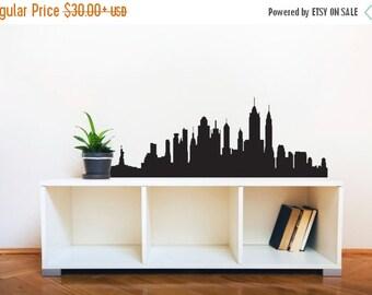Back To School SALE New York City Skyline Silhouette  - Wall Decal Custom Vinyl Art Stickers