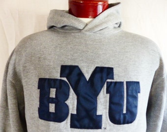 go BYU cougars vintage 90's Brigham Young University heather grey fleece hoodie graphic sweatshirt embroidered applique navy blue logo small