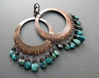 Turquoise Hoop Earrings - Real Turquoise Earrings - Big Hoop Earrings - Bohemian Hoops - Genuine Turquoise Jewelry - Boho Statement Earrings