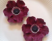Gum Paste ANEMONES MARSALA WINE Flowers / Set of 2 /  Edible  Cake and Cupcake Decorations