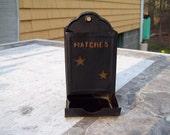Match safe box fireplace ignite strike country stars black metal holder primitive folk rustic farmhouse vintage