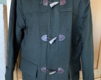 Men's Loden Wool Pischl Fabric Duffle Toggle Coat. Thinsulate lined. WAter Repellent. Hooded. Vintage Land's End. XL