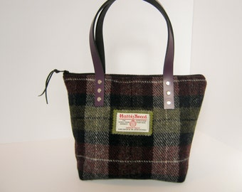 Aubergine check Harris Tweed Tote bag/ Handbag