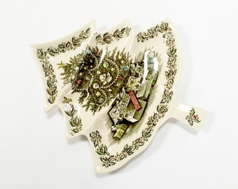 "Johnson Bros Christmas Tree Figural Plate - Made in England - English Ironstone Transferware LARGE SIZE - 14 1/4""  by 12 1/2"""