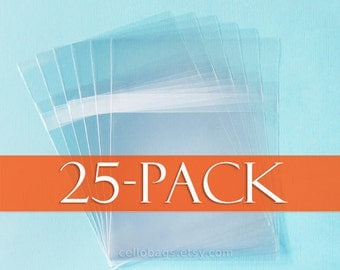 25 Pack 6 7/16 x 8 1/4  Self Adhesive Cello Bags, Holds 6 x 8 Prints