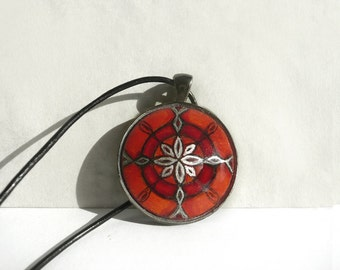 Modern Red Necklace, Hand Painted Pendant, Black Leather String Cord Necklace, Geometric Flower Art Necklace