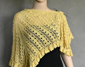SALE!!!  Yellow Lace Knitting Shawl, Yellow Shawl, Knitted Shawl, Boho Shawl, Bohemian Shawl