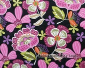 Purple Flower Fabric, Shabby Chic Fabric, Violet Lilac Flower Cotton Fabric,- 1/2 yard