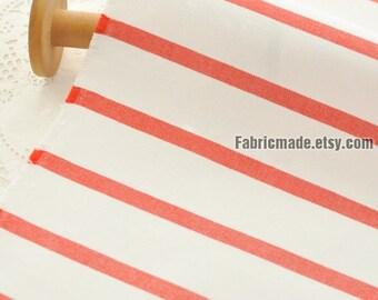 Canvas Cotton Stripes Fabric, Red Blue & White Cotton Canvas- 1/2 Yard