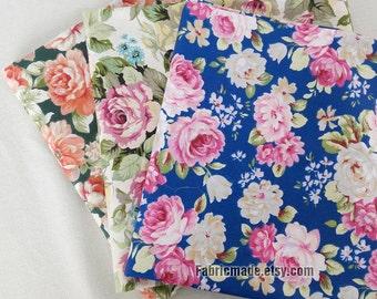 Shabby Chic Cotton Fabric, PInk Rose Flower White Blue Blackish Green Cotton- 1/2 yard