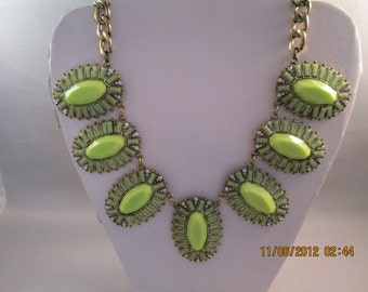 GoldTone and Green Beads Pendant Necklace on a Gold Tone Chain