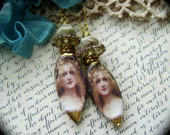 Golden Maiden, assemblage earrings, mixed media earring, lampwork beads, ceramic cameo, scorched earth, unique ooak earrings, AnvilArtifacts