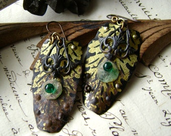 Ancient Decay, Roman glass, recycled tin earrings, Upcycled tin jewelry, brass stamping, eco friendly, vintage tin earrings, anvilartifacts