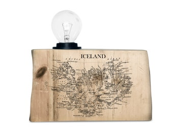 Wood Table Lamp. Driftwood table lamp with Iceland map. World map. Educational art.