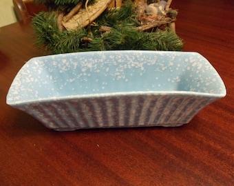 McCoy Baby Blue & White Speckled Rectangular Planter