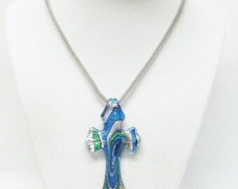 Multi-Color Glass Cross Pendant Necklace