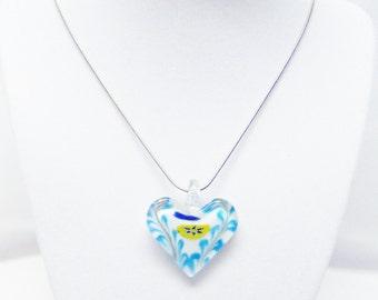 White Core Aqua Swirl Heart Necklace