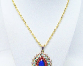 Multi Color Beads on Gold Plated Rain Drop Pendant w/Crystal Pendant Necklace