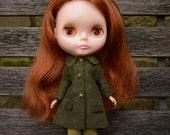 Blythe doll sized bottle green boiled wool blend coat.  For Blythe, Dal, Pullip, Licca or similar scale dolls