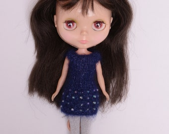 Blythe doll sized beaded Navy blue mohair and silk blend knitted dress for Blythe, Pullip, Dal. Licca, Barbie or similar dolls