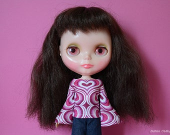 Bell sleeved pink hearts retro mod style top shirt for Blythe Pullip Dal licca and similar dolls