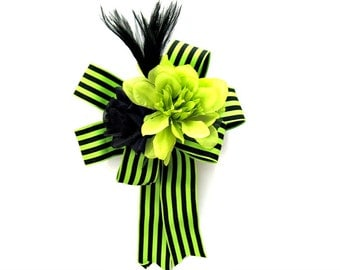 Birthday gift bow, Female gift bow, Special celebration gift wrap bow, Masculine gift bow, Gift wrap bow, Green and black floral bow, (HB91)