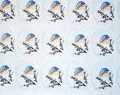 Bluebird Bird Planner Stickers, Spring Stickers Mini Stickers Cute Bird in a Tree 24 Sticker Sheet