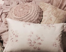 Antique rare french pink roses floral fabric vintage custom made pillow cover rose shabby chic rachel ashwell