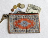 Orange Blue Purse, Exotic Fabric Pouch, Mini Makeup Bag, Handmade Coin Purse, Ethnic Pouch, Small Zip Pouch