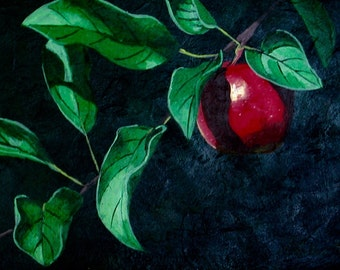 Apple Branch Realistic Fine Art Print, Ripe Red Apple Print, Realism, Red, Green, Emerald