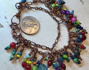 Fringe bracelets, colorful versitile necklace, ankle bracelet on copper chain