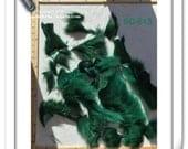 SC-613 Craft Supply Genuine Emerald Green Coyote Fur Pelt Remnants Face