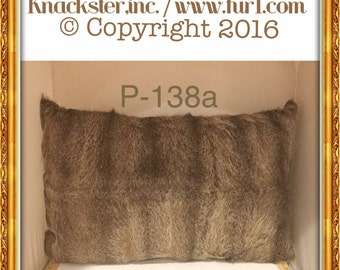 P-138 Genuine Light Gray Brown NUTRIA Beaver Fur Pillow 30 x 20 Great Decor