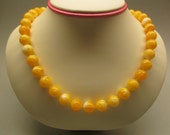 Amber Fashion Necklace 42.95 Gr Round 11.0 mm Yellow Orange Perfect Color Handmade #139