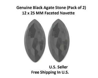 100% Natural Black Agate 12 x 25 MM Faceted Navette (Pack of 2)