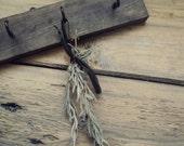 Rustic Wood Key Holder - Small Wooden Herb Drying Rack - Rustic Chic Miniature Key Rack - Rustic Industrial Decor - Little Wall Key Hanger