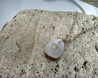Genuine Lavender Sea Glass and Sterling Necklace